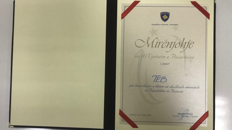 Presidenti i Kosovës, Thaçi ndau mirënjohje për Bankën TEB