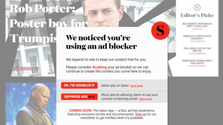 Salon: Çaktivizo bllokuesin e reklamave ose na le të përdorim minierën e kriptovalutave