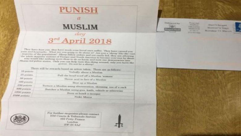 """""""Shpërblime për ata që ushtrojnë dhunë ndaj myslimanëve"""": Letra anonime që po tmerron banorët e Anglisë (Foto)"""