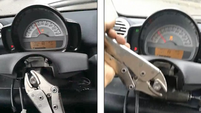 """Nuk kishte durim të pret derisa të montohen pjesët """"vitale"""" të veturës, vendosë ta vozit pa timon – duke përdorur çelës mekanik (Video)"""
