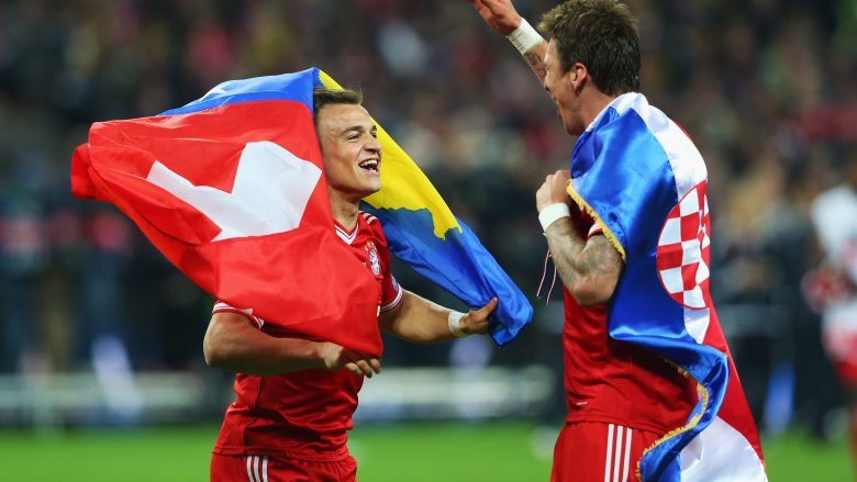 LONDON, ENGLAND - MAY 25:  Mario Mandzukic of Bayern Muenchen (R) celebrates victory with team mate Xherdan Shaqiri after the UEFA Champions League final match between Borussia Dortmund and FC Bayern Muenchen at Wembley Stadium on May 25, 2013 in London, United Kingdom.  (Photo by Alex Livesey/Getty Images)