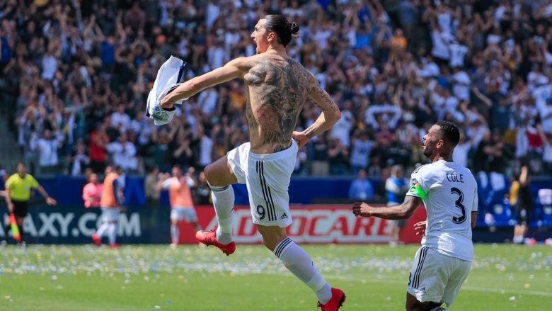 Ibrahimovic debuton me dy gola të bukura, La Galaxy fiton me meritë të tij duke u rikthyer nga 0-3 në 4-3