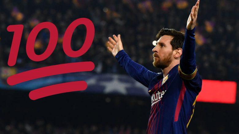 Messi arriti 100 gola në Ligën e Kampionëve, këtë e bëri shumë më shpejt se Ronaldo