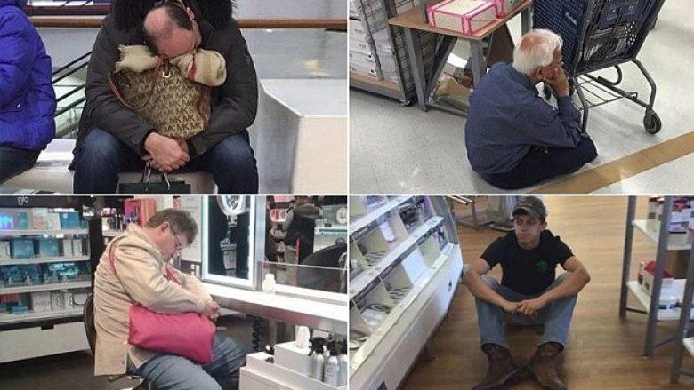 """A mund të shkojmë tani në shtëpi? Pamje që tregojnë burrat """"e lodhur"""" duke pritur gratë – derisa bëjnë pazar! (Foto)"""