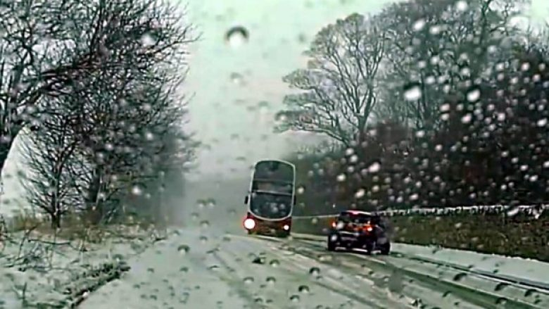"ASTONISHING footage shows a hero bus driver swerve around an out-of-control car on an icy road - avoiding a collision by inches.  As the bus slides towards the dashcam vehicle and a huge crash seems inevitable, the motorist can be heard yelling: ""Oh my god, oh my god, no!""  Gareth Smith, from Edinburgh, was stuck on a hill in his van when he spotted the car in front of him veer out of control and head into the wrong side of the road.  Moments later, a Lothian bus can be seen coming over the hill at Frogston Brae on the B701 - heading straight towards the now stationary car.  The bus driver manages to swerve and drift around the car, pulling back into the other side of the road to avoid colliding with Gareth, 22."