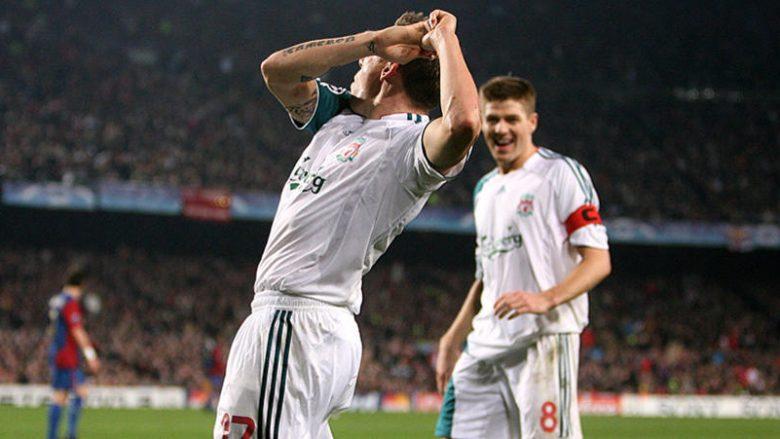 Liverpool's Craig Bellamy celebrates scoring the equalising goal of the game