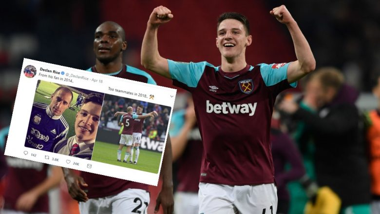 LONDON, ENGLAND - OCTOBER 25:  Declan Rice of West Ham United celebrates his side's win following the Carabao Cup Fourth Round match between Tottenham Hotspur and West Ham United at Wembley Stadium on October 25, 2017 in London, England.  (Photo by Stu Forster/Getty Images)