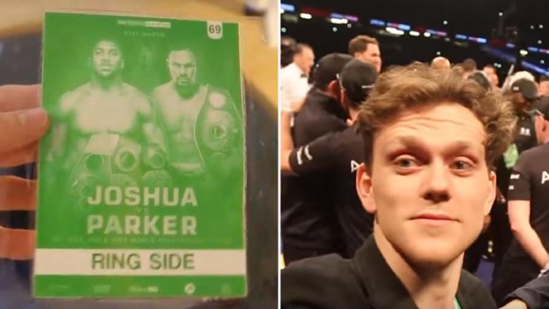 Nuk është as gazetar, as milioner dhe nuk kishte as biletë, por ia arriti t'i mashtrojë të gjithë dhe të futet në ring me Joshuan pas triumfit ndaj Parker