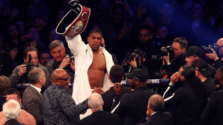 CARDIFF, WALES - MARCH 31:  Anthony Joshua celebrates his points win over Joseph Parker after there WBA, IBF, WBO & IBO Heavyweight Championship title fight at Principality Stadium on March 31, 2018 in Cardiff, Wales.  (Photo by Julian Finney/Getty Images)