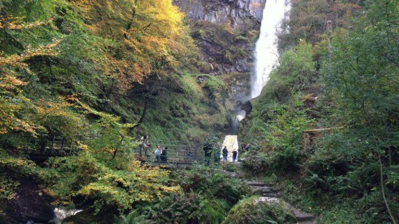 Pistyll Rhaeadr, the highest waterfall in Wales.