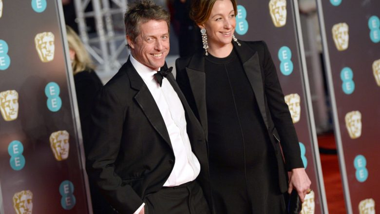 LONDON, ENGLAND - FEBRUARY 18:  Hugh Grant and Anna Eberstein attend the EE British Academy Film Awards (BAFTA) held at Royal Albert Hall on February 18, 2018 in London, England.  (Photo by Jeff Spicer/Jeff Spicer/Getty Images)