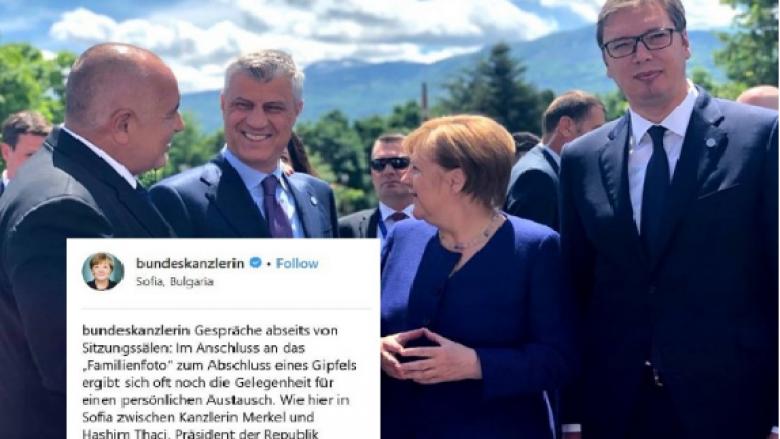 Merkel përzgjedhë një foto me Thaçin për prezantimin e Samitit të Sofjes
