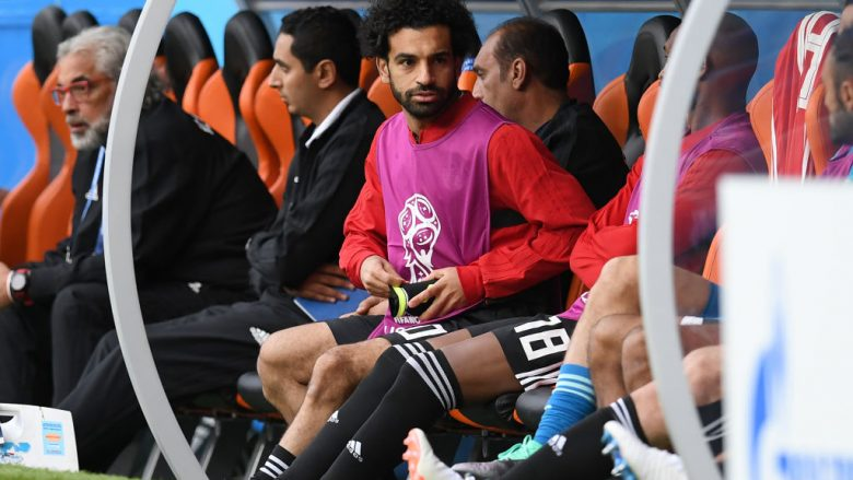 YEKATERINBURG, RUSSIA - JUNE 15:  Mohamed Salah of Egypt looks on during the 2018 FIFA World Cup Russia group A match between Egypt and Uruguay at Ekaterinburg Arena on June 15, 2018 in Yekaterinburg, Russia.  (Photo by Matthias Hangst/Getty Images)