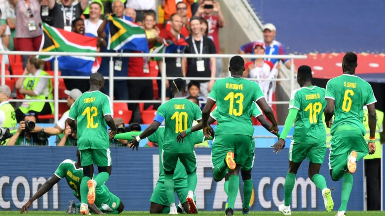 MOSCOW, RUSSIA - JUNE 19:  Mbaye Niang of Senegal celebrates with teammates after scoring his team's second goal during the 2018 FIFA World Cup Russia group H match between Poland and Senegal at Spartak Stadium on June 19, 2018 in Moscow, Russia.  (Photo by Shaun Botterill/Getty Images)