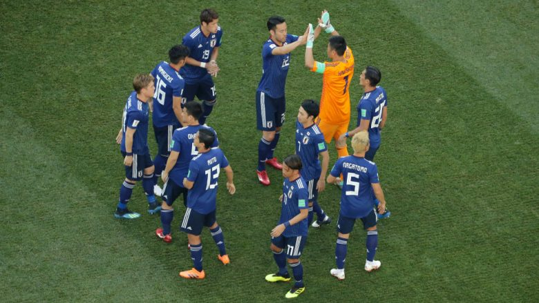 VOLGOGRAD, RUSSIA - JUNE 28:  Japan players get ready to play to the 2018 FIFA World Cup Russia group H match between Japan and Poland at Volgograd Arena on June 28, 2018 in Volgograd, Russia.  (Photo by Richard Heathcote/Getty Images)
