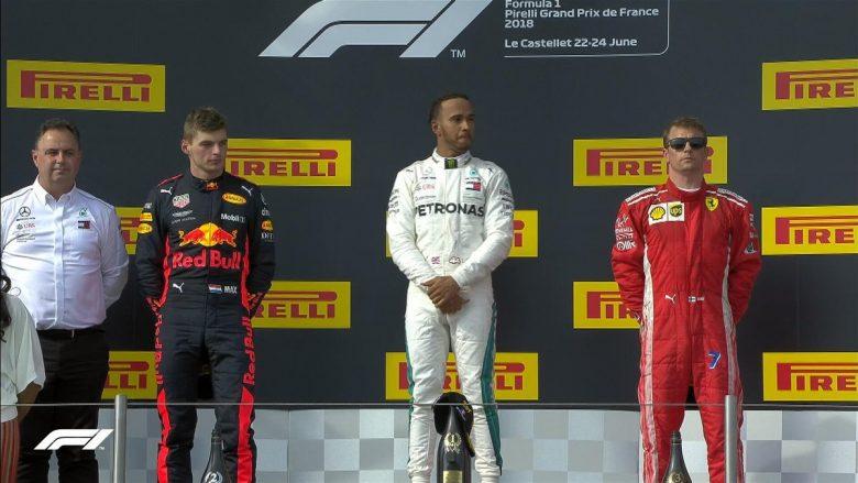 Hamilton, Verstaeppen dhe Raikkonen në podium (Foto: Formula 1/Twitter)