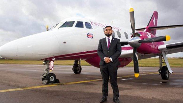 """Erdhi me 600 funte në Britani, punoi si pastrues – tanimë biznesmeni dëshiron të lansojë linjën e parë ajrore """"me rregulla Sheriati"""" (Foto/Video)"""