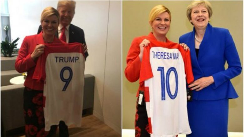 Presidentja kroate ndan fanellat e botërorit të ekipit kombëtar në Bruksel: Trump e pranon me kënaqësi, May me buzëqeshje të thartë