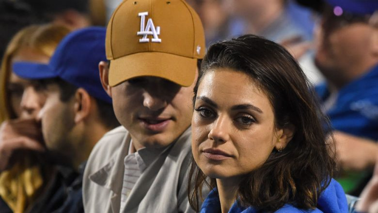 LOS ANGELES, CA - APRIL 11: Actors Ashton Kutcher and Mila Kunis attend the game between the Los Angeles Dodgers and the Oakland Athletics at Dodger Stadium on April 11, 2018 in Los Angeles, California.  (Photo by Jayne Kamin-Oncea/Getty Images)