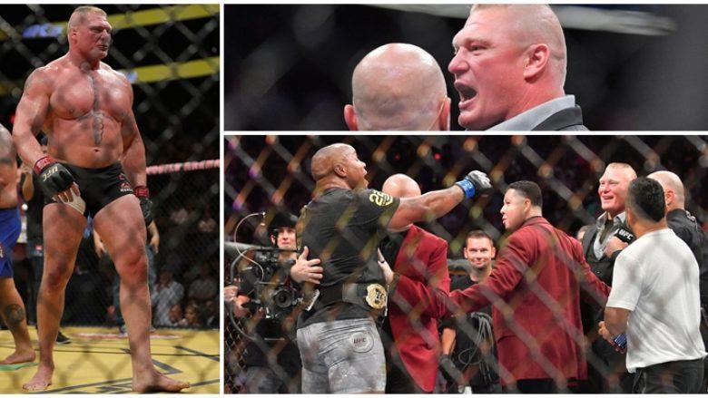 Momenti kur Brock Lesnar futet në oktagon dhe konfrontohet me kampionin Cormier