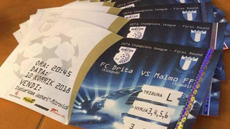 Interesim i madh për ndeshjen Drita – Malmo, Intelektualët kanë blerë thuajse të gjitha biletat