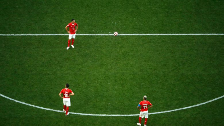 SAINT PETERSBURG, RUSSIA - JULY 03:  Switzerland players look dejected following their sides defeat in the 2018 FIFA World Cup Russia Round of 16 match between Sweden and Switzerlandat Saint Petersburg Stadium on July 3, 2018 in Saint Petersburg, Russia.  (Photo by Julian Finney/Getty Images)