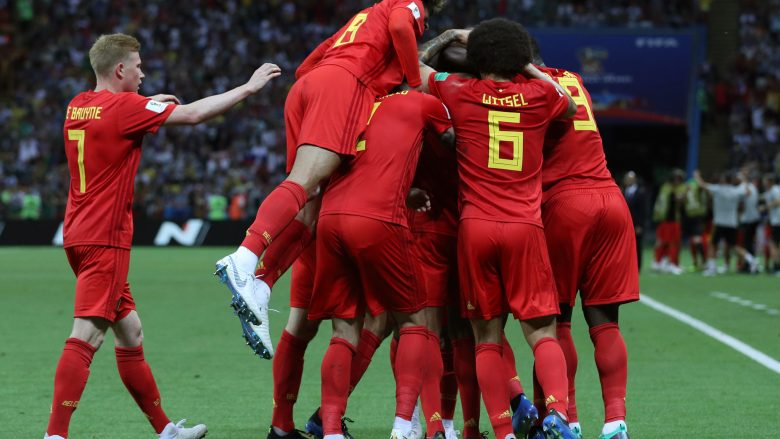 KAZAN, RUSSIA - JULY 06:  Belgium players celebrate after Fernandinho of Brazil scores an own goal for their sides first goal during the 2018 FIFA World Cup Russia Quarter Final match between Brazil and Belgium at Kazan Arena on July 6, 2018 in Kazan, Russia.  (Photo by Buda Mendes/Getty Images)