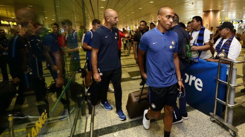 Inter Milan players arrive at Changi International Airport on July 25, 2017 in Singapore.