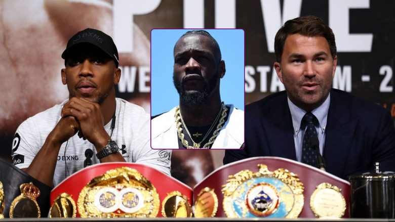 Anthony Joshua, Eddie Hearn dhe Deontay Wilder (Foto: Getty Images)