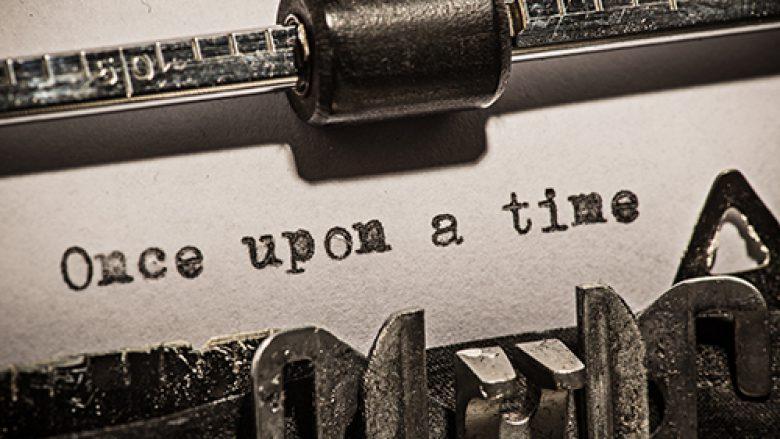 Old vintage typewriter, close-up.