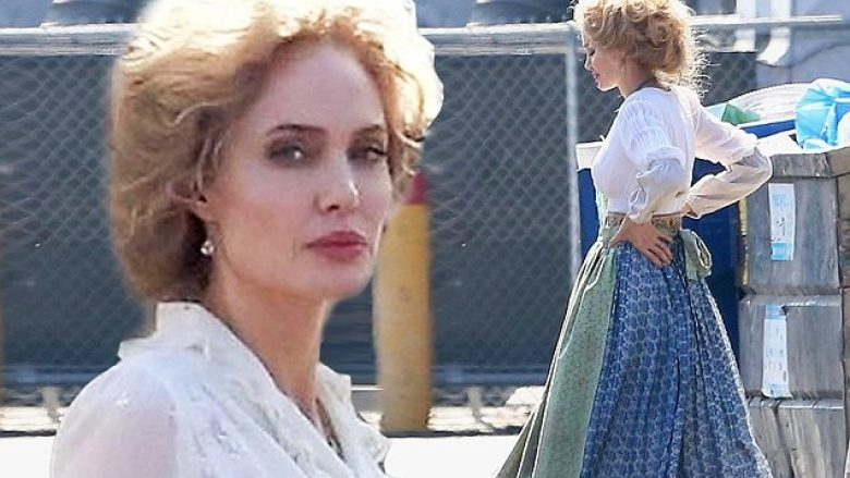 Hollywood, CA  - *PREMIUM-EXCLUSIVE* **WEB EMBARGO UNTIL 8:00 AM PT on September 26, 2018**Actress Angelina Jolie is seen in full costume and wig as Rose on the set of her latest film 'Come Away' at a studio lot in Hollywood. Angelina's co-stars on the project, David Oyelowo and Jordan A. Nash, who plays Peter Pan, were also seen arriving on set. The fantasy film, directed by  Brenda Chapma, is a  prequel to the stories of Peter Pan and Alice in Wonderland. *Shot on September 24, 2018*    Pictured: Angelina Jolie    BACKGRID USA 25 SEPTEMBER 2018     BYLINE MUST READ: W Blanco / BACKGRID    USA: +1 310 798 9111 / usasales@backgrid.com    UK: +44 208 344 2007 / uksales@backgrid.com    *UK Clients - Pictures Containing Children  Please Pixelate Face Prior To Publication*