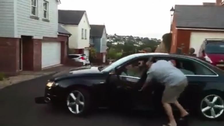 """I bërë tapë, bëri aksident – me gjithë tentimet për ta ndalur, ai """"fluturoi"""" me veturë (Video)"""