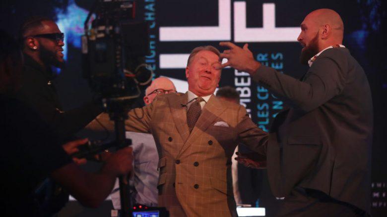 Deontay Wilder dhe Tyson Fury në konferencën e tyre të parë për media (Foto: Julian Finney/Getty Images/Guliver)