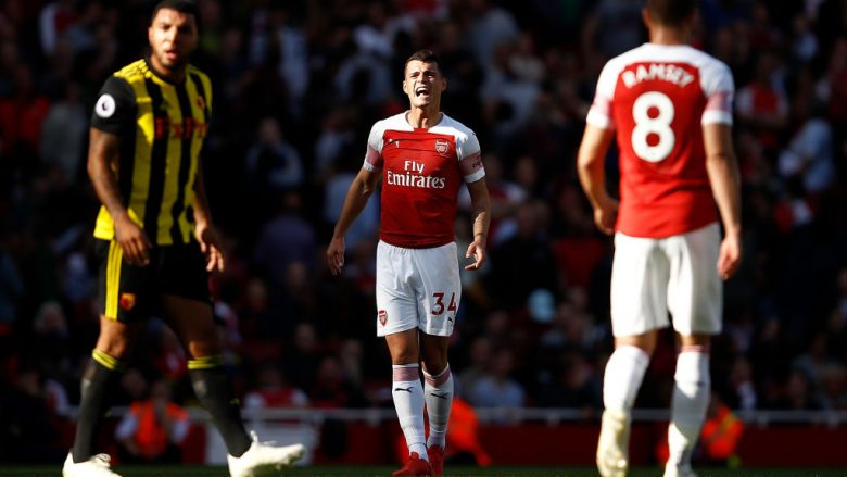 LONDON, ENGLAND - SEPTEMBER 29:  Granit Xhaka of Arsenal shouts instructions during the Premier League match between Arsenal FC and Watford FC at Emirates Stadium on September 29, 2018 in London, United Kingdom.  (Photo by Julian Finney/Getty Images)