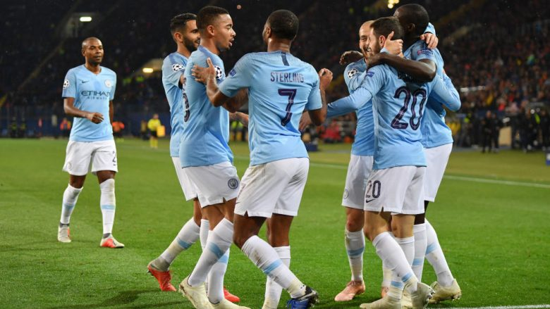 KHARKOV, UKRAINE - OCTOBER 23:  Bernardo Silva of Manchester City celebrates with teammates after scoring his team's third goal during the Group F match of the UEFA Champions League between FC Shakhtar Donetsk and Manchester City at Metalist Stadium on October 23, 2018 in Kharkov, Ukraine.  (Photo by Mike Hewitt/Getty Images)