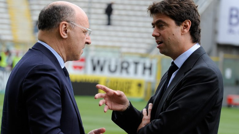 PARMA, ITALY - MAY 15:  Giuseppe Marotta and Andrea Agnelli of Juventus FC during the Serie A match between Parma FC and Juventus FC at Stadio Ennio Tardini on May 15, 2011 in Parma, Italy.  (Photo by Claudio Villa/Getty Images)