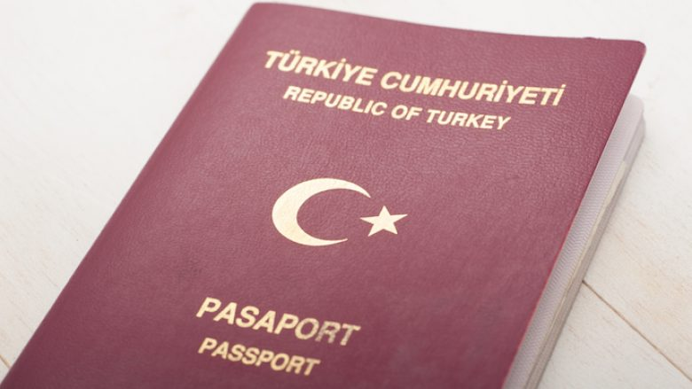 Close up of Turkish passport with shallow depth of field
