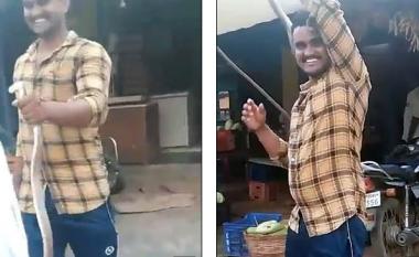 Deshi të argëtohet paksa me kobrën, indiani e vuri rreth qafës - gjarpri e kafshoi dhe mbeti i vdekur në vend (Video)