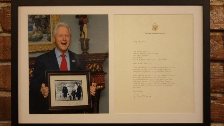 Presidenti Bill Clinton, mirëpret hapjen e Famous Famiglias në Prishtinë – i dërgon letër familjes Kolaj