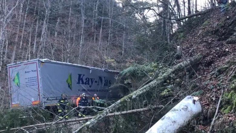 Shoferi i kamionit ndoqi udhëzimet e navigacionit, por mezi mbeti gjallë (Video)
