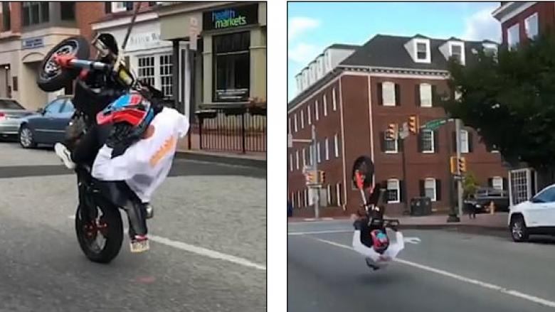 Tentoi të vozit motoçikletën me një rrotë, rrëzohet në tokë (Video)
