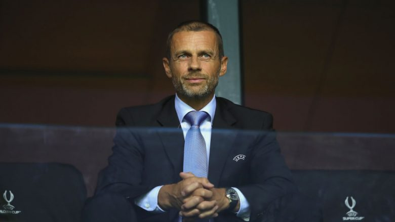 TALLINN, ESTONIA - AUGUST 15:  UEFA President, Aleksander Ceferin looks on during the UEFA Super Cup between Real Madrid and Atletico Madrid at Lillekula Stadium on August 15, 2018 in Tallinn, Estonia.  (Photo by Alexander Hassenstein/Getty Images)