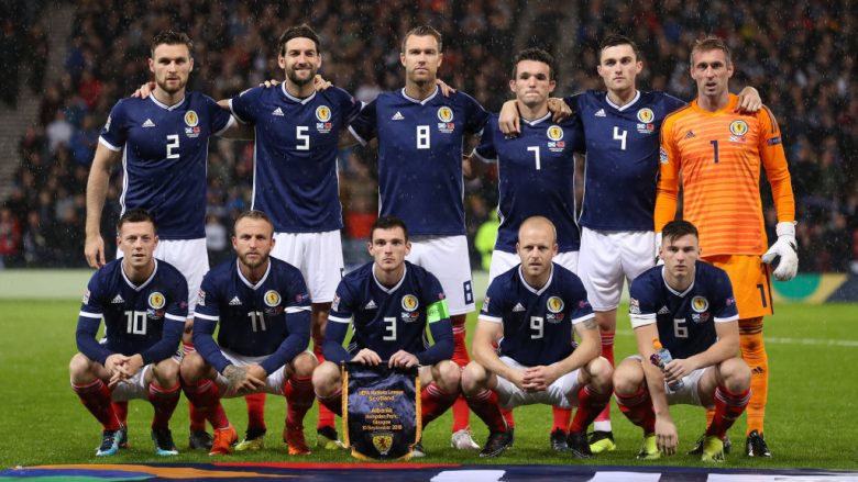 GLASGOW, SCOTLAND - SEPTEMBER 10: Scotland team pose for photographs during the UEFA Nations League C group one match between Scotland and Albania at Hampden Park on September 10, 2018 in Glasgow, United Kingdom. (Photo by Ian MacNicol/Getty Images)