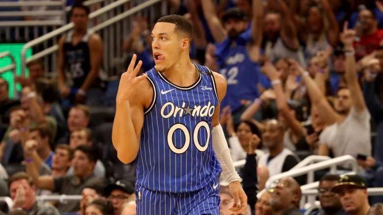 ORLANDO, FL - OCTOBER 17:  Aaron Gordon #00 of the Orlando Magic celebrates during the game against the Miami Heat at Amway Center on October 17, 2018 in Orlando, Florida.  NOTE TO USER: User expressly acknowledges and agrees that, by downloading and or using this photograph, User is consenting to the terms and conditions of the Getty Images License Agreement.  (Photo by Sam Greenwood/Getty Images)