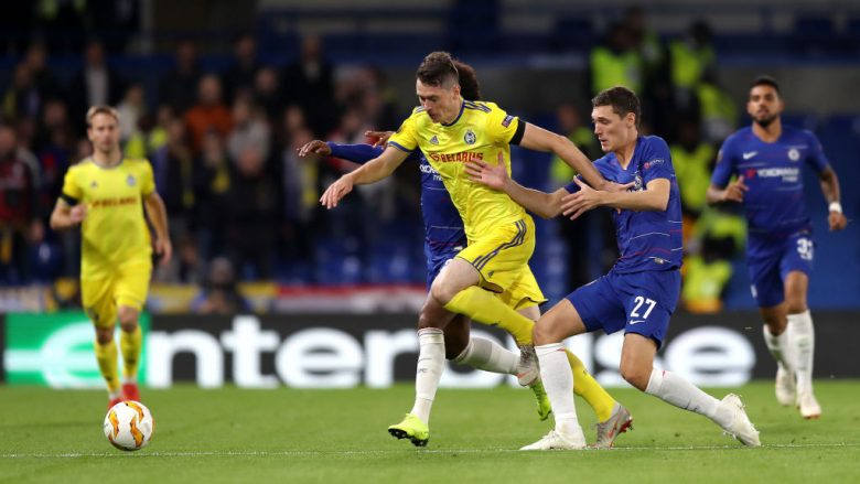 LONDON, ENGLAND - OCTOBER 25:  Nikolai Signevich of FC BATE is closed down by Andreas Christiansen of Chelsea  during the UEFA Europa League Group L match between Chelsea and FC BATE Borisov at Stamford Bridge on October 25, 2018 in London, United Kingdom.  (Photo by Bryn Lennon/Getty Images)