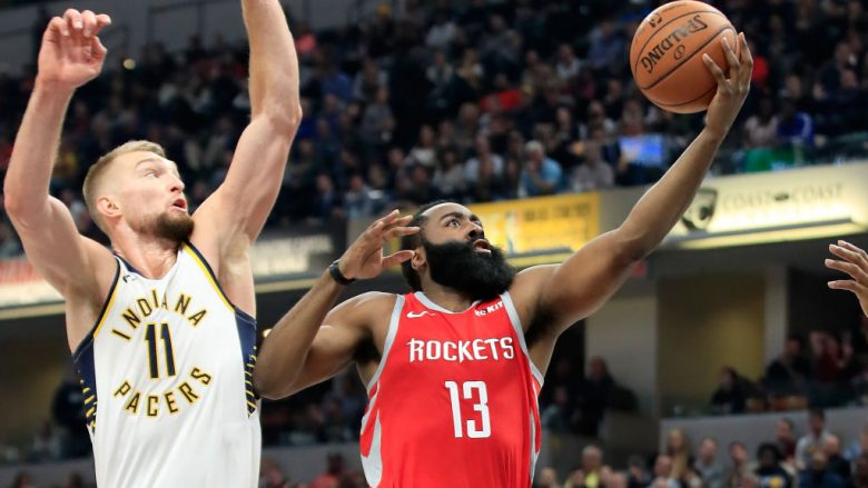 INDIANAPOLIS, IN - NOVEMBER 05:  James Harden #13 of the Houston Rockets shoots the ball against the Indiana Pacers at Bankers Life Fieldhouse on November 5, 2018 in Indianapolis, Indiana.  NOTE TO USER: User expressly acknowledges and agrees that, by downloading and or using this photograph, User is consenting to the terms and conditions of the Getty Images License Agreement.  (Photo by Andy Lyons/Getty Images)