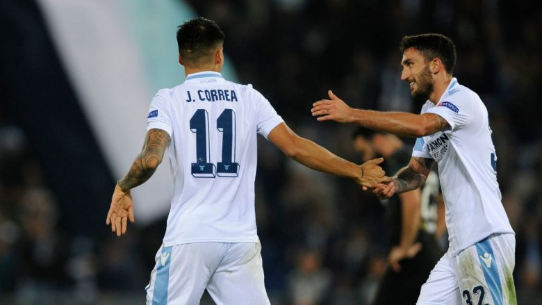 ROME, ITALY - NOVEMBER 08:  Joaquin Correa of SS lazio celebrates a second goal during the UEFA Europa League Group H match between SS Lazio and Olympique de Marseille at Stadio Olimpico on November 8, 2018 in Rome, Italy.  (Photo by Marco Rosi/Getty Images)