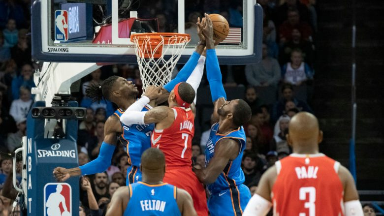 OKLAHOMA CITY, OK - NOVEMBER 8: Nerlens Noel #3 of the Oklahoma City Thunder and Patrick Patterson #54 of the Oklahoma City Thunder block Carmelo Anthony #7 of the Houston Rockets as he tries to shoot two points during the first half of a NBA game at the Chesapeake Energy Arena on November 8, 2018 in Oklahoma City, Oklahoma. NOTE TO USER: User expressly acknowledges and agrees that, by downloading and or using this photograph, User is consenting to the terms and conditions of the Getty Images License Agreement. (Photo by J Pat Carter/Getty Images)
