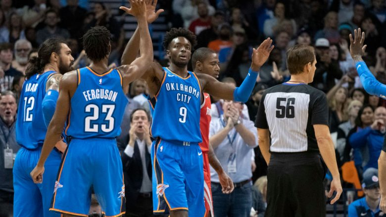 OKLAHOMA CITY, OK - NOVEMBER 8: Jerami Grant #9 of the Oklahoma City Thunder celebrates after scoring agains the Houston Rockets during the second half of a NBA game at the Chesapeake Energy Arena on November 8, 2018 in Oklahoma City, Oklahoma. NOTE TO USER: User expressly acknowledges and agrees that, by downloading and or using this photograph, User is consenting to the terms and conditions of the Getty Images License Agreement. (Photo by J Pat Carter/Getty Images)