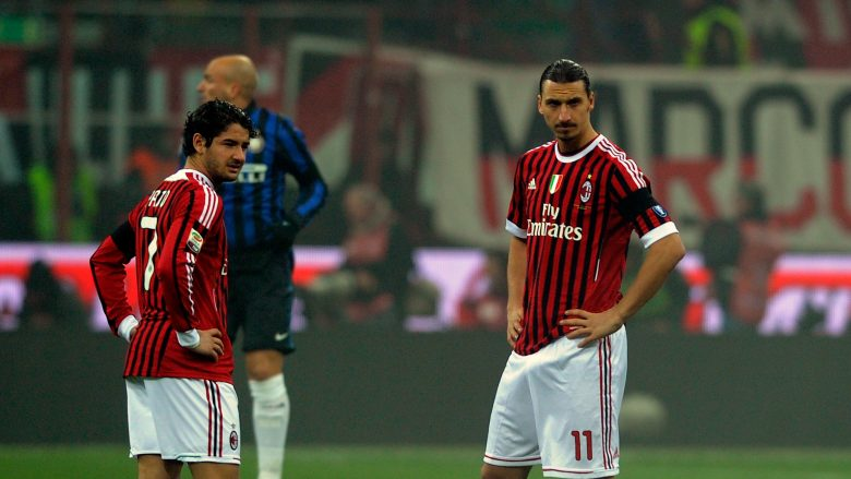 MILAN, ITALY - JANUARY 15:  Zlatan Ibrahimovic and Pato of AC Milan look on during the Serie A match between AC Milan and FC Internazionale Milano at Stadio Giuseppe Meazza on January 15, 2012 in Milan, Italy.  (Photo by Claudio Villa/Getty Images)
